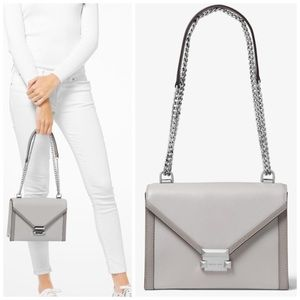 MICHAEL KORS • Gray Whitney Large Leather Bag